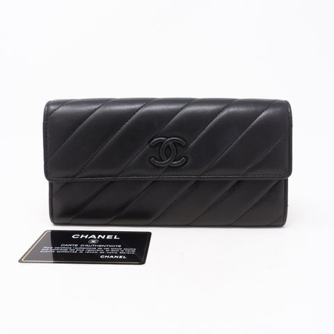 Long Flap Wallet Black Leather