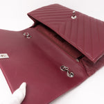 Chevron Single Flap Jumbo Red Lambskin