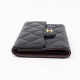 Small Classic Flap Wallet Black Caviar Leather