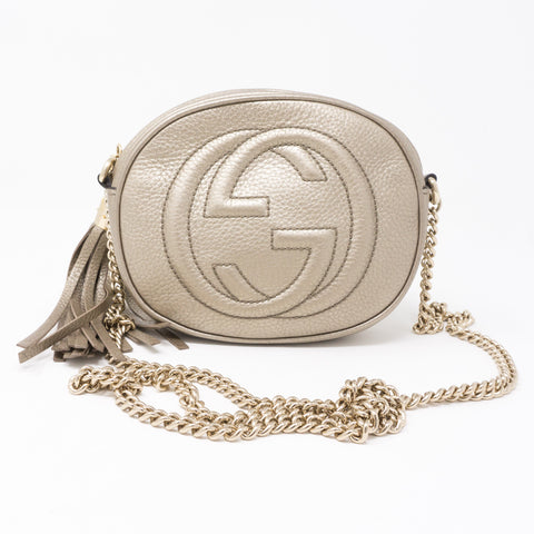 Soho Mini Chain Bag Metallic Champagne Leather