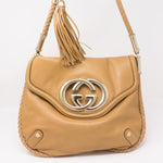 Britt Shoulder Bag Beige Leather