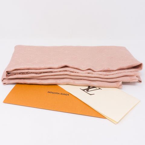Nude Pink Monogram Denim Shawl