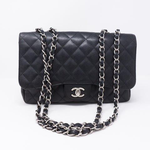 Classic Single Flap Jumbo Black Caviar Leather