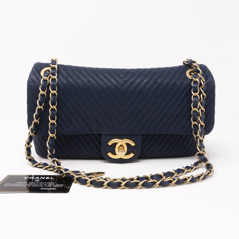 Surpique Chevron Single Flap Medium Navy Blue