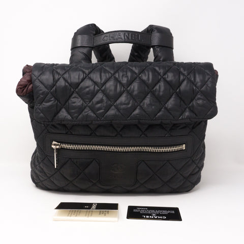 Coco Cocoon Black Quilted Nylon Backpack