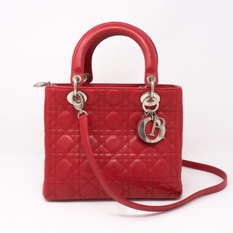 Lady Dior Medium Red Leather