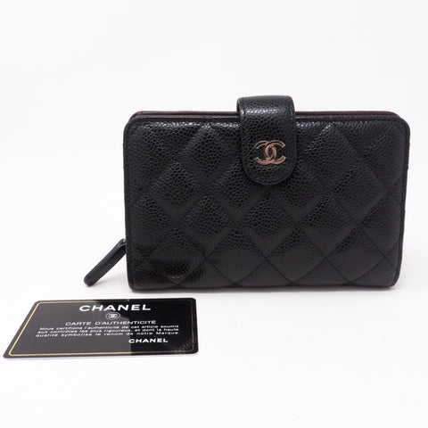 CC Bifold Quilted Black Caviar Wallet