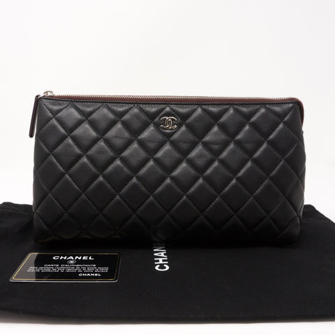 Quilted Toiletry Pouch Black Leather