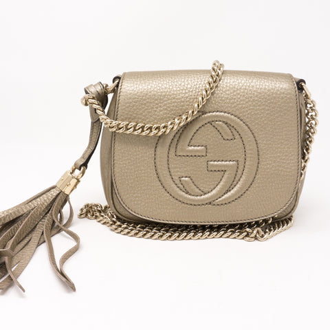 Soho Small Chain Bag Champagne Leather
