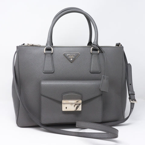 Galleria Front Pocket Grey Saffiano Leather