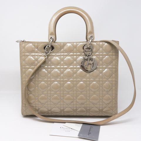 Lady Dior Large Beige Patent Leather
