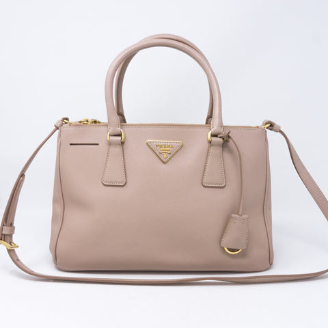 Saffiano Leather Double Zip Nude