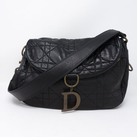 Cannage Quilted Black Leather Shoulder Bag