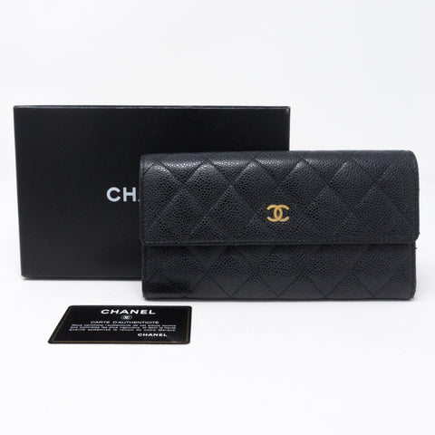 Continental Flap Wallet Black Caviar Leather