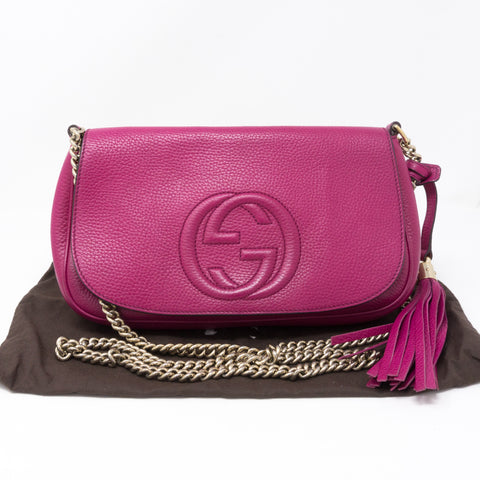 Soho Flap Chain Tassel Bag Pink Leather