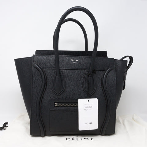 Micro Luggage Bag Black Leather