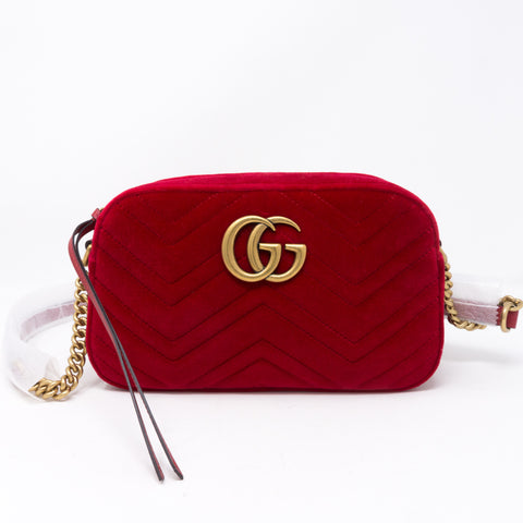 GG Marmont Small Shoulder Bag Red Velvet