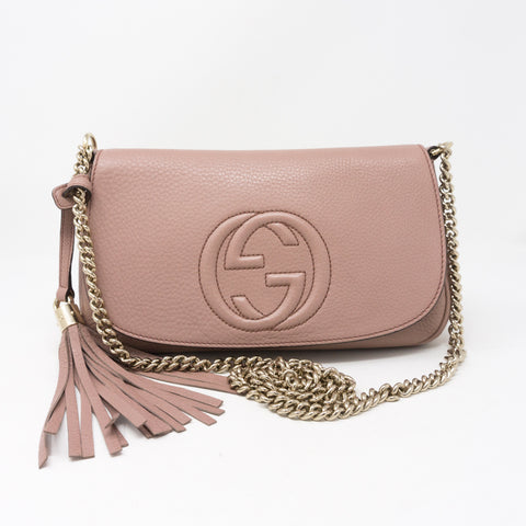 Soho Flap Chain Tassel Bag Dusty Pink Leather