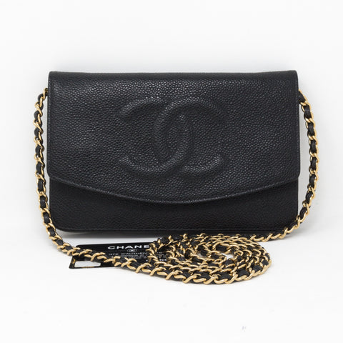 Timeless CC Wallet On Chain Black Caviar Leather