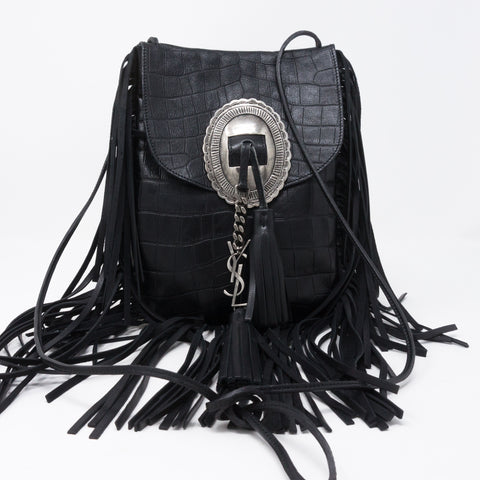 Anita Fringed Flat Bag Black Leather