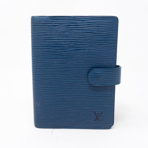Small Ring Agenda Cover Blue Epi Leather