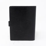 Small Ring Agenda Cover Black Epi Leather
