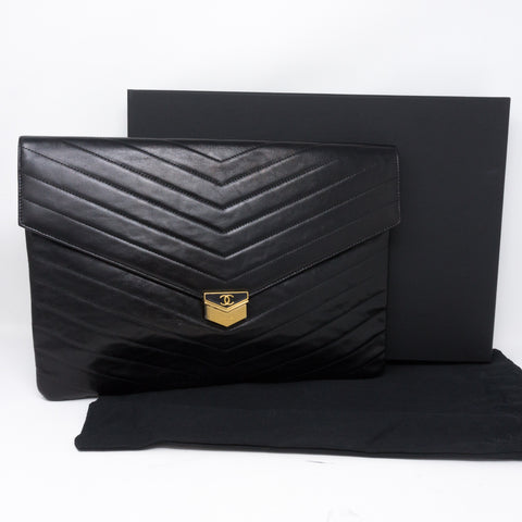 Large Flap Case Black Calf Leather