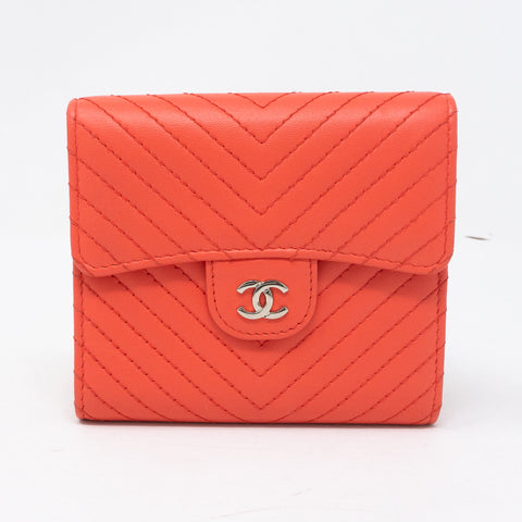 Small Classic Flap Wallet Coral Pink Leather