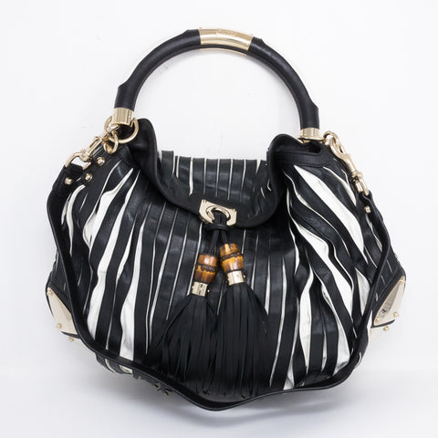 Indy Babouska Black White Leather Bag