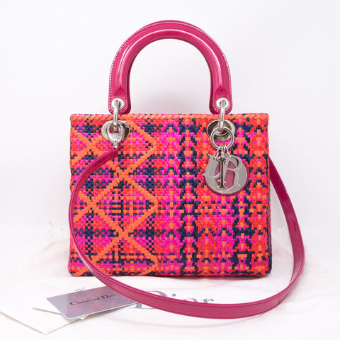 Lady Dior Medium Multicolor Woven Raffia