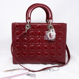 Lady Dior Large Dark Red Patent Leather