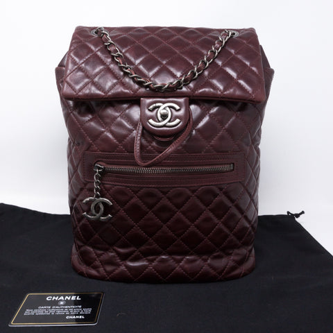 Mountain Backpack Large Quilted Burgundy Glazed Leather