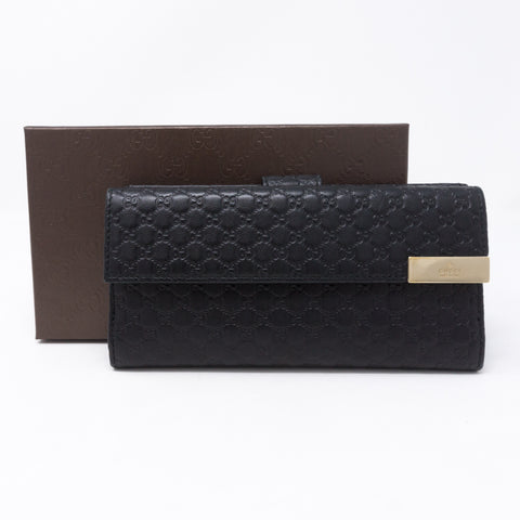 GG Continental Wallet Black Leather