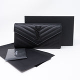 Large Monogram Flap Wallet Black Leather