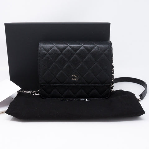 Square Wallet on Chain Black Caviar Leather