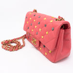 Classic Single Flap Mini Charms Pink Leather