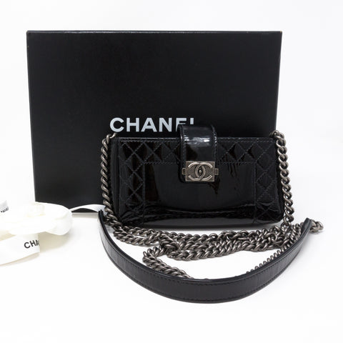 Mini Phone Holder Chain Black Patent Leather