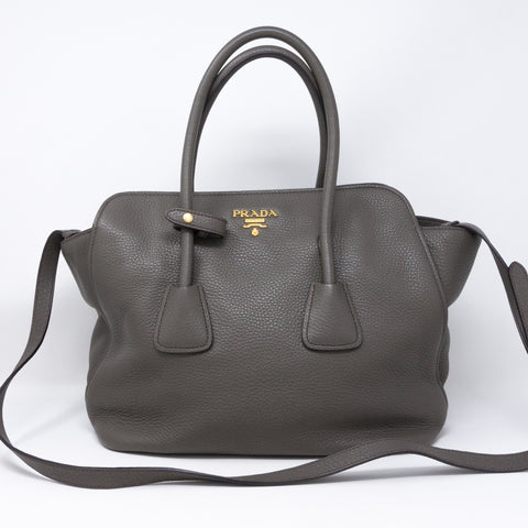 Two-way Handbag Gray Leather