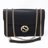 Interlocking GG Flap Bag Black Leather
