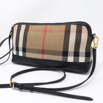 House Check Black Leather Crossbody Bag