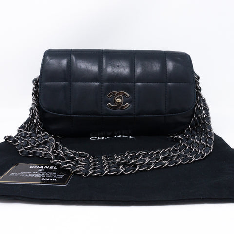 Multiple Chain Flap Bag Navy Blue