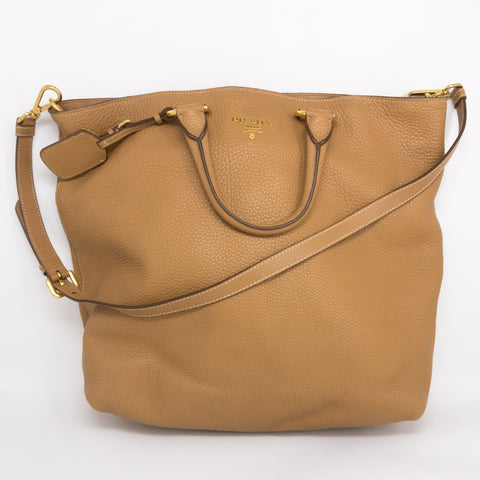 Large Two-way Handbag Brown Leather