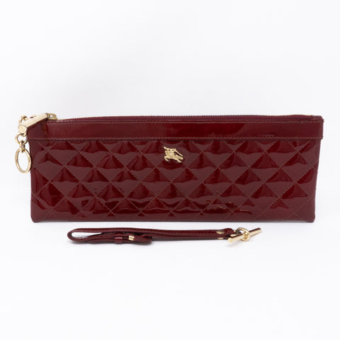 Quilted Clutch Burgundy Patent Leather