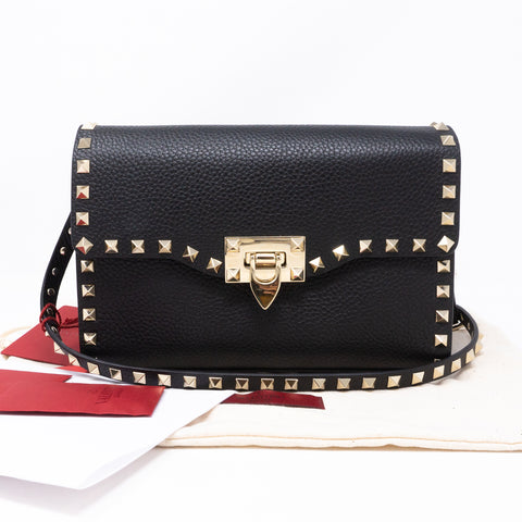 Rockstud Crossbody Black Leather