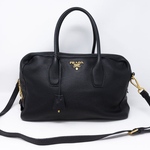 Two-way Handbag Black Leather