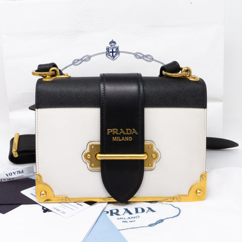 Cahier White Black Leather Bag