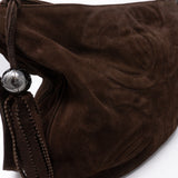 CC Tassel Shoulder Bag Brown Suede