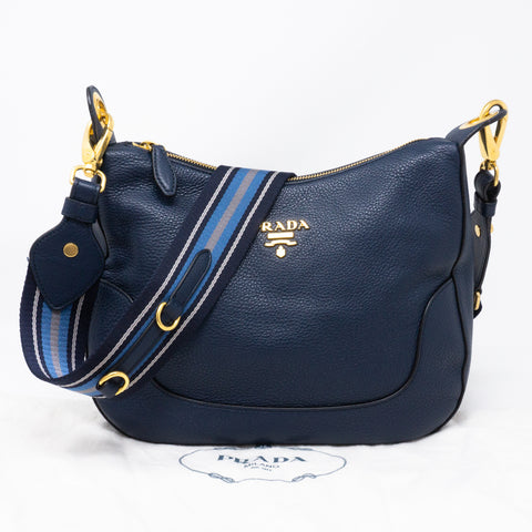 Crossbody Canvas Strap Bag Navy Leather