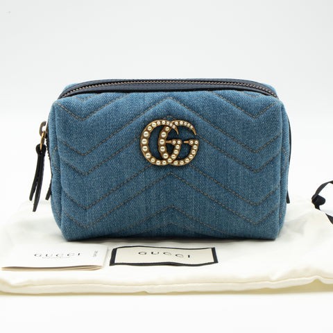 GG Marmont Cosmetic Case Denim