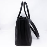 Executive Cerf Tote Black Leather Silver